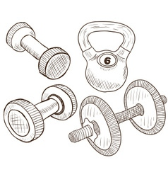 Dumbbells doodles vector image