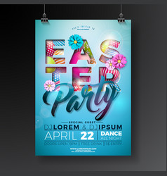 Easter party flyer design with painted eggs vector