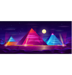 egyptian pyramids night landscape cartoon vector image