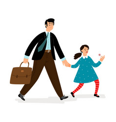 father with daughter going in school vector image