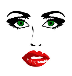 Female face on white background vector