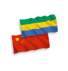 Flags gabon and china on a white background vector