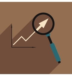Flat with shadow icon Economic graph and zoom vector image