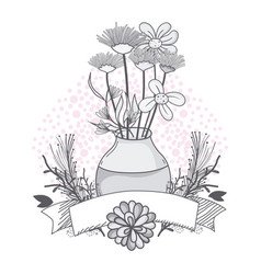 flowers in jar glass vector image