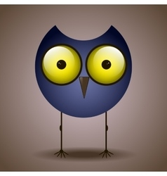 Funny cute bird owl big eyes looks vector