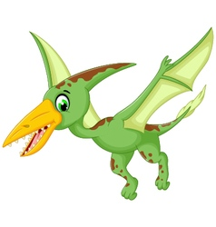 funny pterodactyl cartoon flying vector image