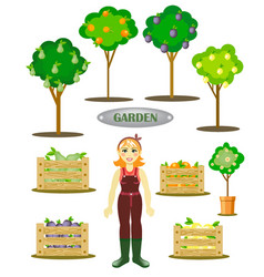 garden set with a gardener trees and boxes with g vector image
