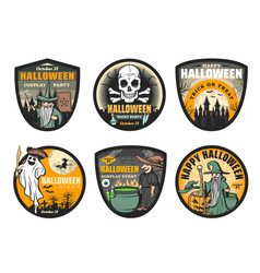 Ghost witch skull moon and bat halloween icons vector