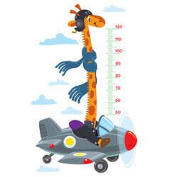 Giraffe on plane meter wall or height chart vector