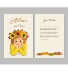 Girl autumn card vector