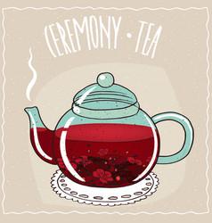 Glass teapot with hibiscus tea vector