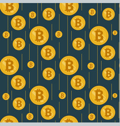 Golden rain of bitcoins on a dark background vector