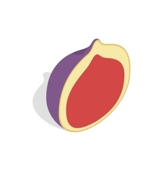 Half of fig fruit icon isometric 3d style vector image
