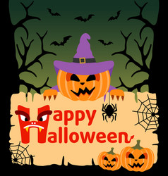 Halloween background card with pumpkin vector