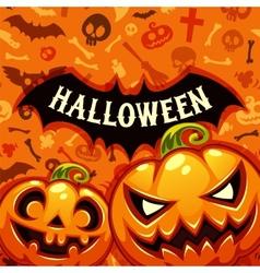 Halloween Pumpkins Card With Bat Silhouette vector image