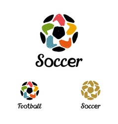 Hand drawn logo with a soccer ball with hands like vector image