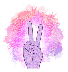 hands with a gesture of peace vector image