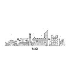 hanoi skyline vietnam city buildings linear vector image