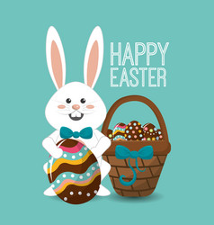 happy easter rabbit day icon vector image