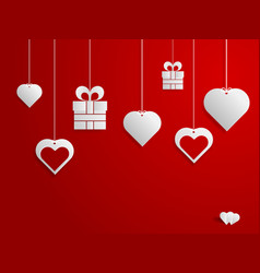 happy valentines day hearts and gift hanging on vector image