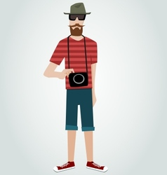 Hipster with camera and beard vector image