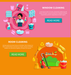 Housecleaning horizontal banners set vector