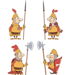 humor cartoon knights set vector image