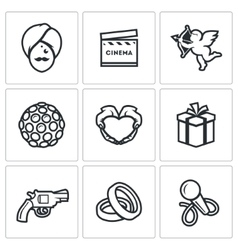 Indian cinema icons set vector image