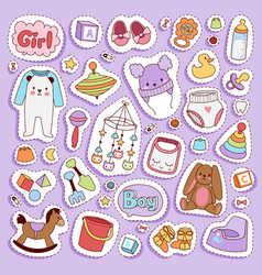 infant small newborn baby clothes and toys vector image