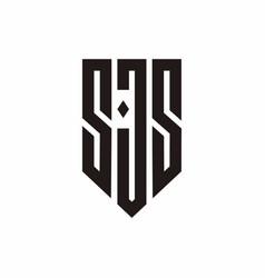 Initials monogram sjs letter shield logo design vector