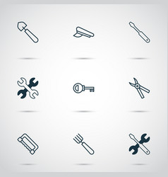 Instrument icons set with pincers saw shovel and vector