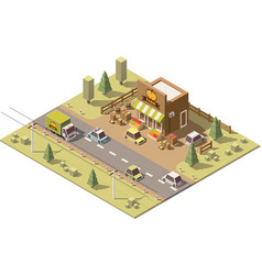 Isometric low poly farmers food store vector