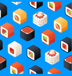 isometric sushi pattern or background vector image