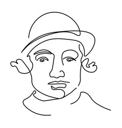 jewish man outline portrait facial expression vector image