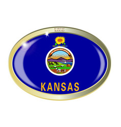 Kansas state flag oval button vector