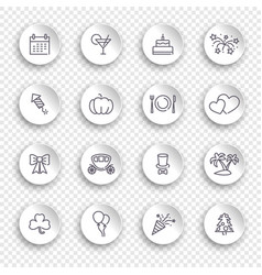 linear icons holidays on white stickers with vector image