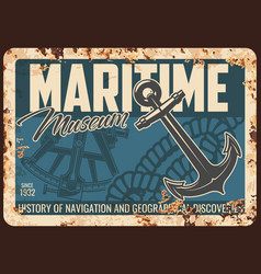maritime museum metal rusty plate retro poster vector image