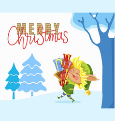 merry christmas caption elf carry boxes with gift vector image