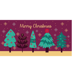 Merry christmas card with pines trees vector