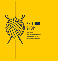 minimalistic linear poster for knitting shop vector image