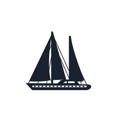 monochrome boat with sails isolated vector image
