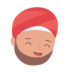 muslim man in traditional turban man face cartoon vector image