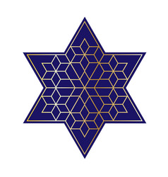 Navy blue and gold jewish star vector