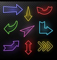 Neon arrows electric light direction arrow shapes vector