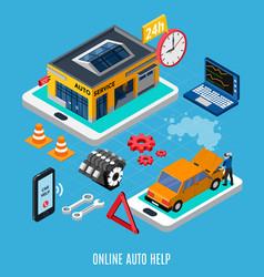 Online auto help concept vector