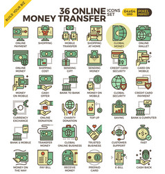 online money transfer payment icons vector image