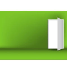 Open white door on a green wall vector