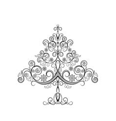 Openwork Christmas tree with snowflakes vector image