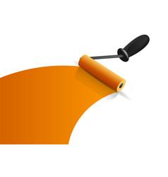 Orange paintbrush roller vector