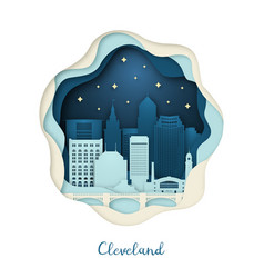 paper art cleveland origami concept night vector image
